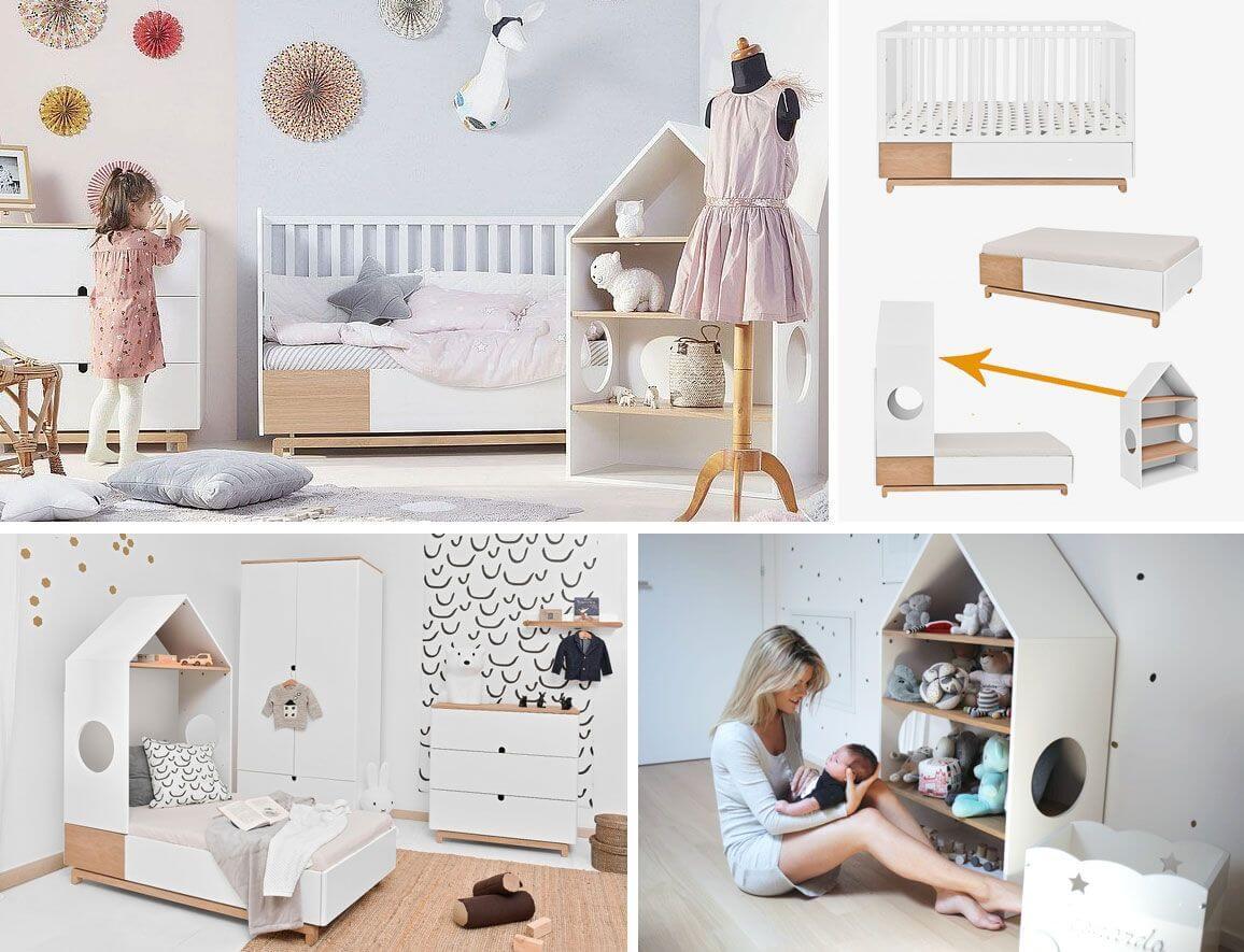 ᐅ Chambre bébé Noma blanche et bois originale à petit prix • Jurassien