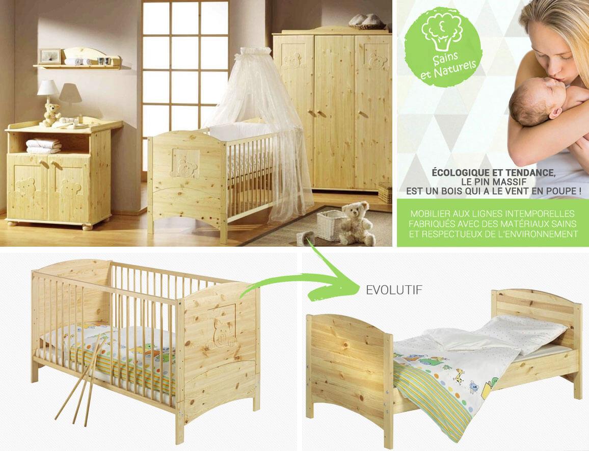 ᐅ Chambre bébé en bois massif finition huilée • Meuble bébé ...